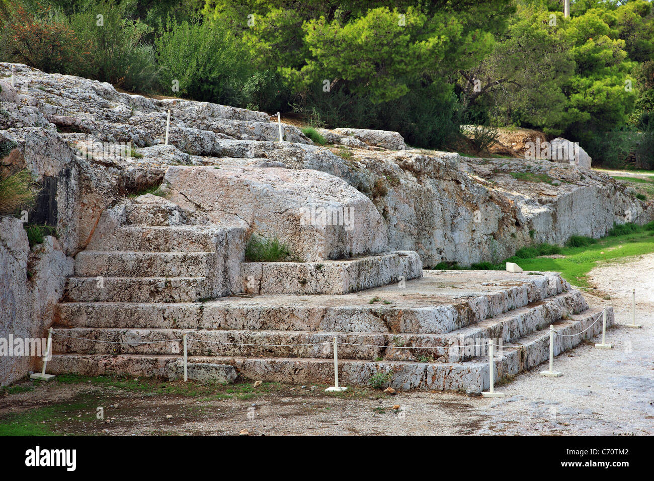 The 'Bema' or 'Vema' of Pnyx, where popular assemblies were taking place in Ancient Athens, Greece. - Stock Image