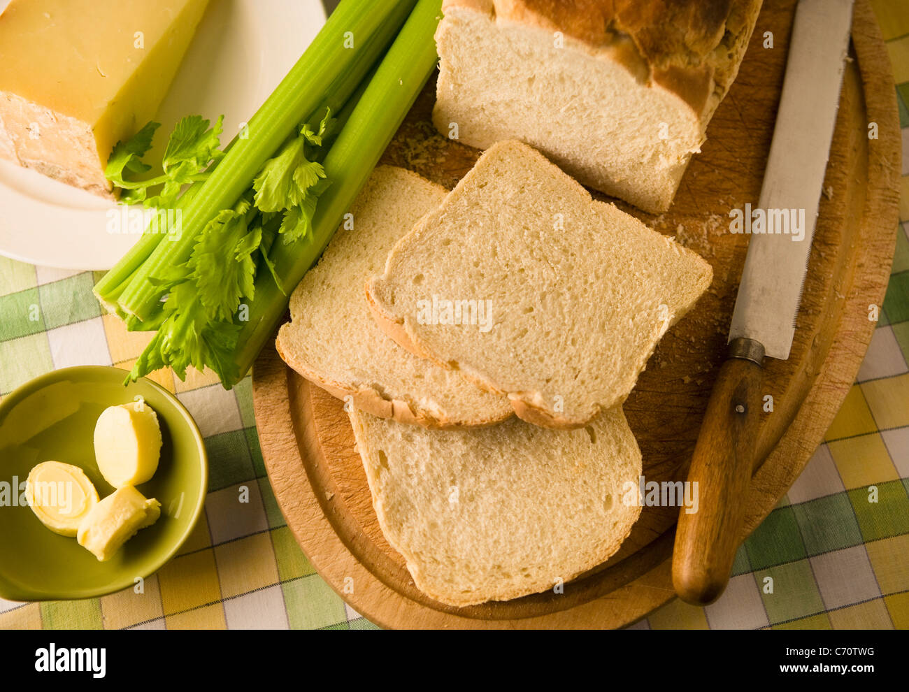 Slices of bread, celery and cheese - Stock Image