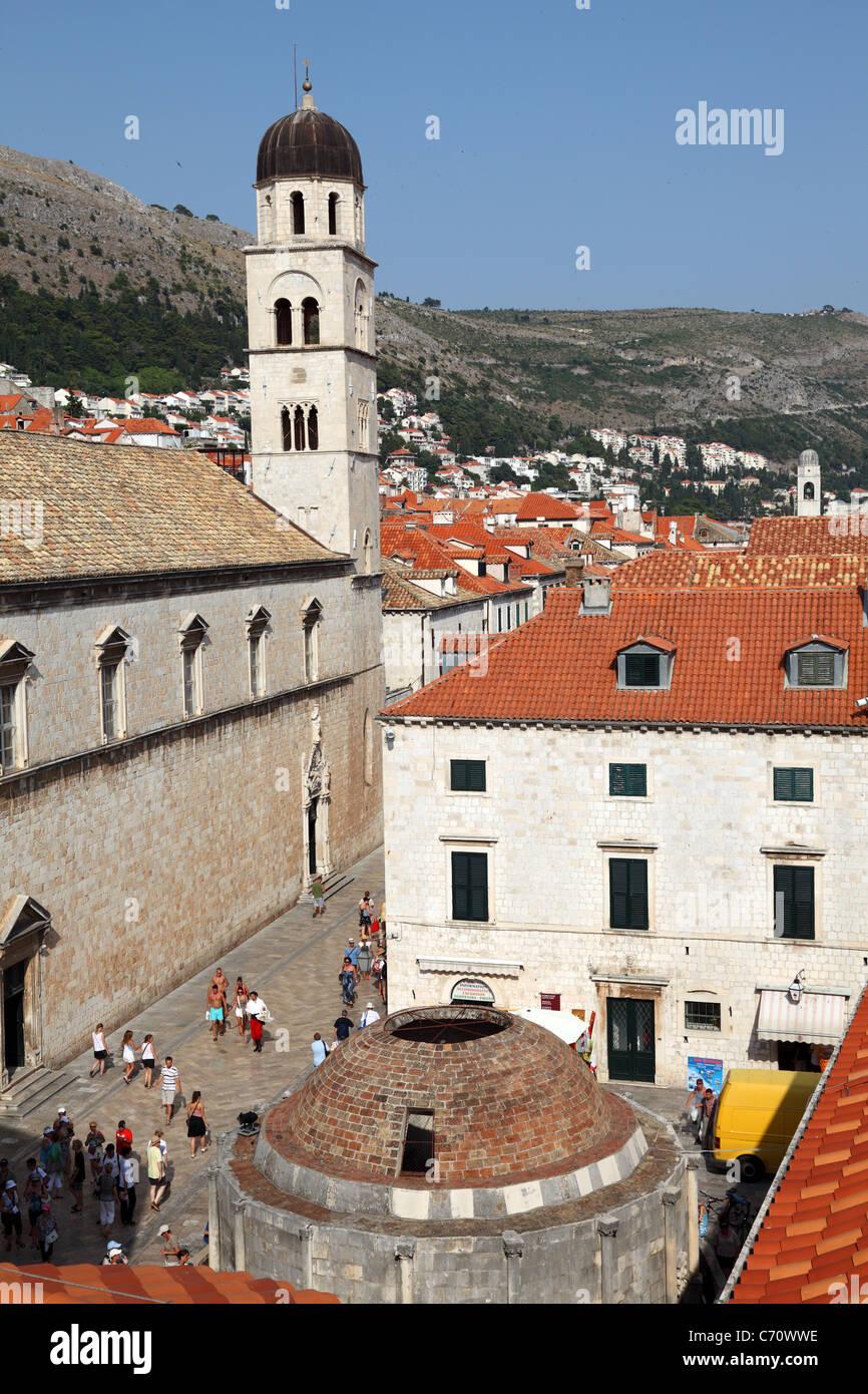 Onofrijeva fountain as seen from the city wall, Dubrovnik Croatia - Stock Image