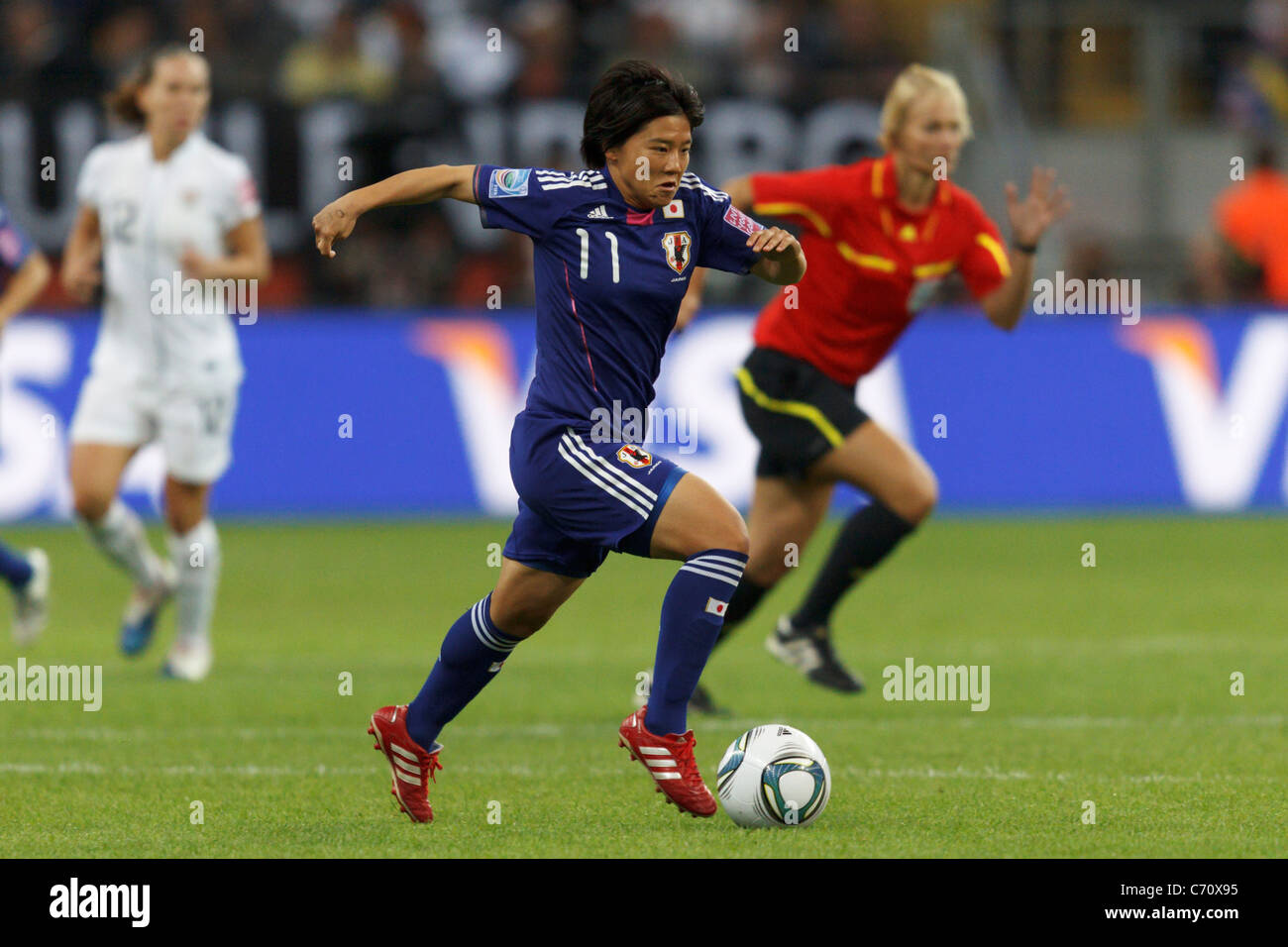 Shinobu Ohno of Japan races with the ball during the FIFA Women's World Cup final against the United States - Stock Image