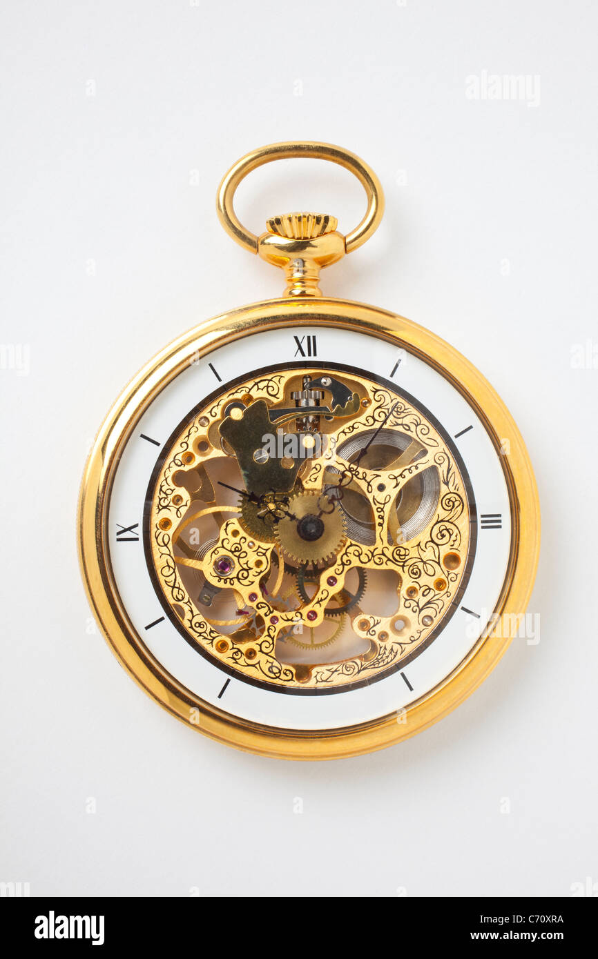 Fancy gold pocket watch - Stock Image