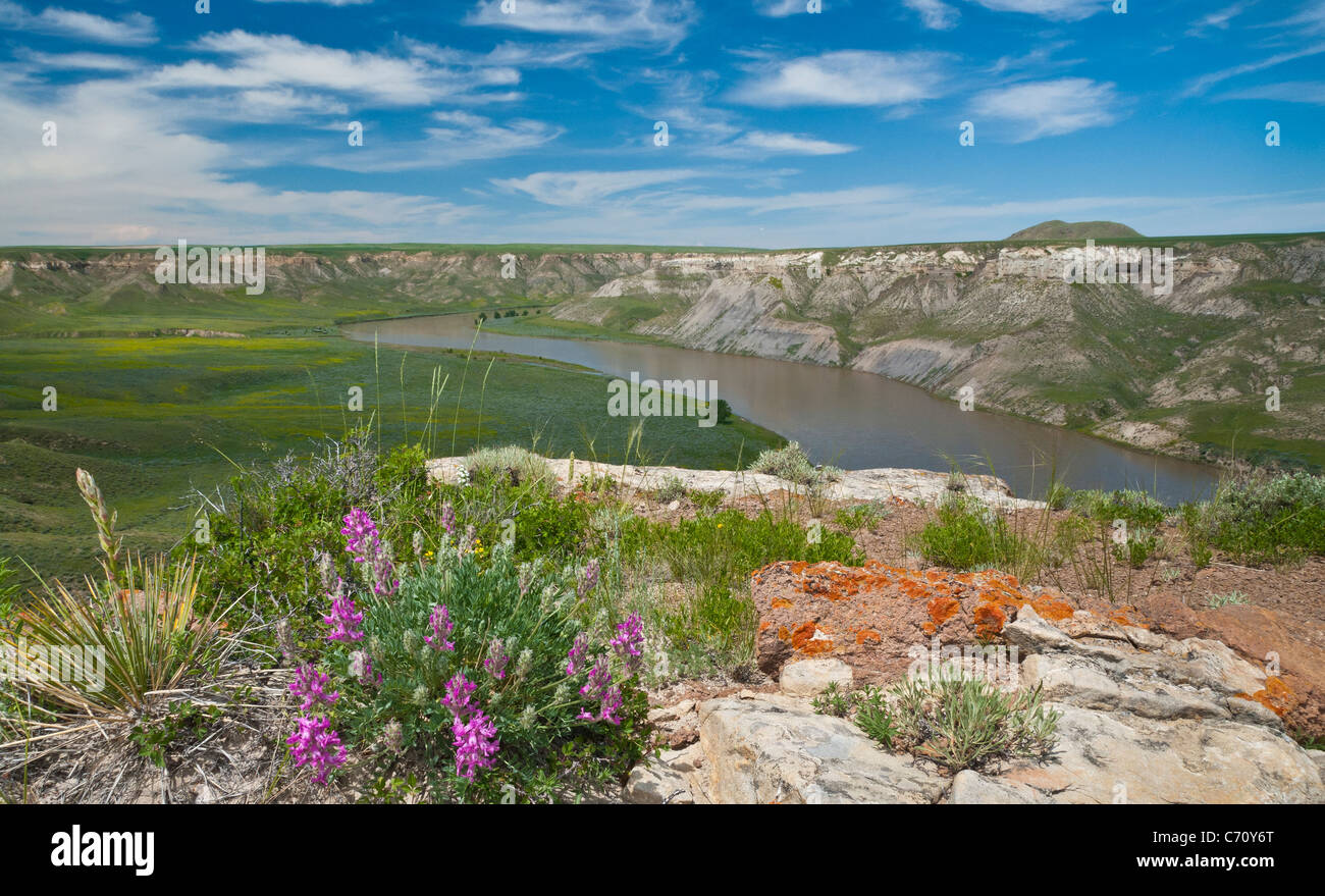 Missouri River from the top of Hole In The Wall rock formation; Upper Missouri River Breaks National Monument, Montana. - Stock Image