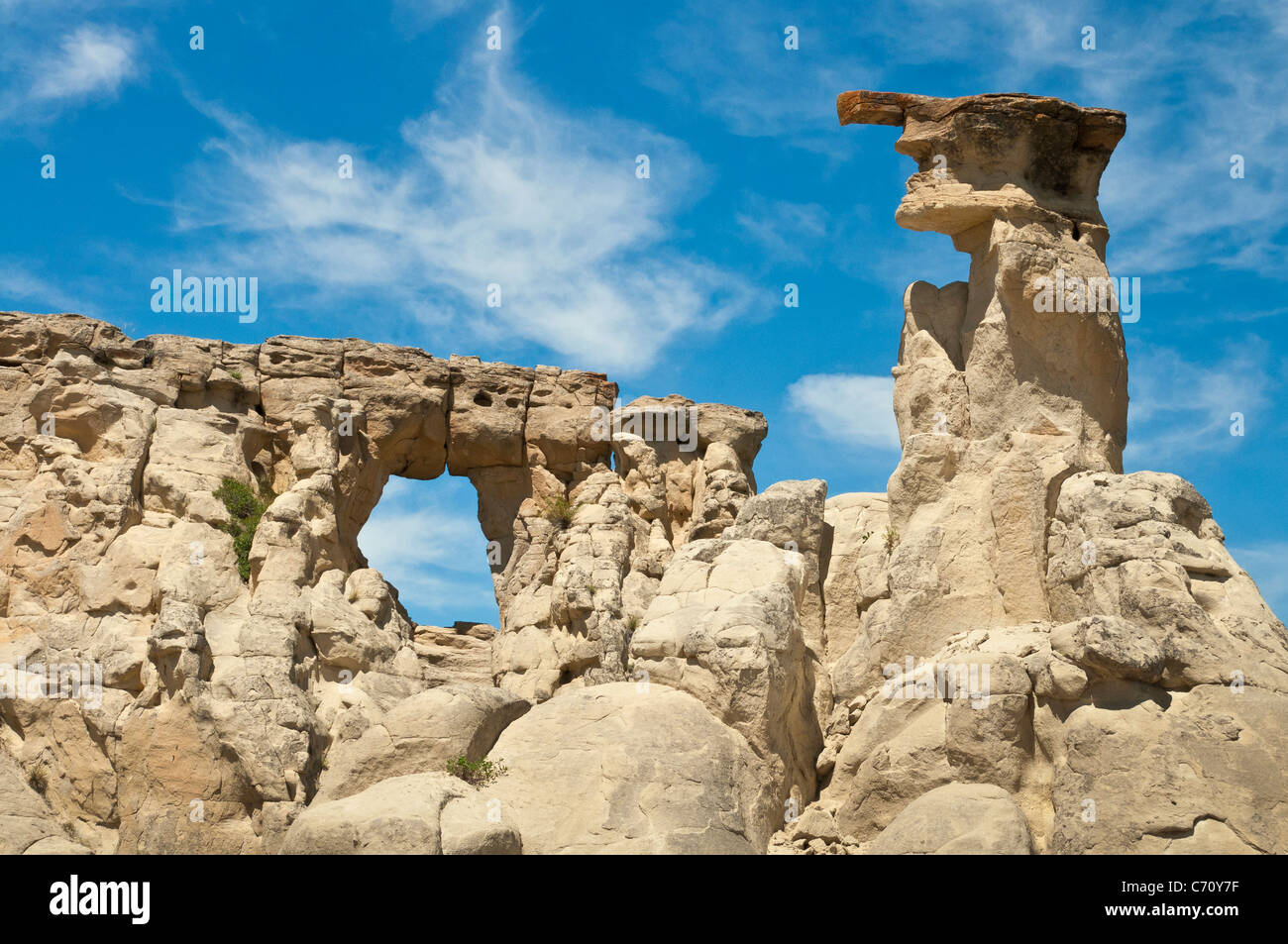 Hole in the Wall rock formation, Upper Missouri River Breaks National Monument, Montana. Stock Photo