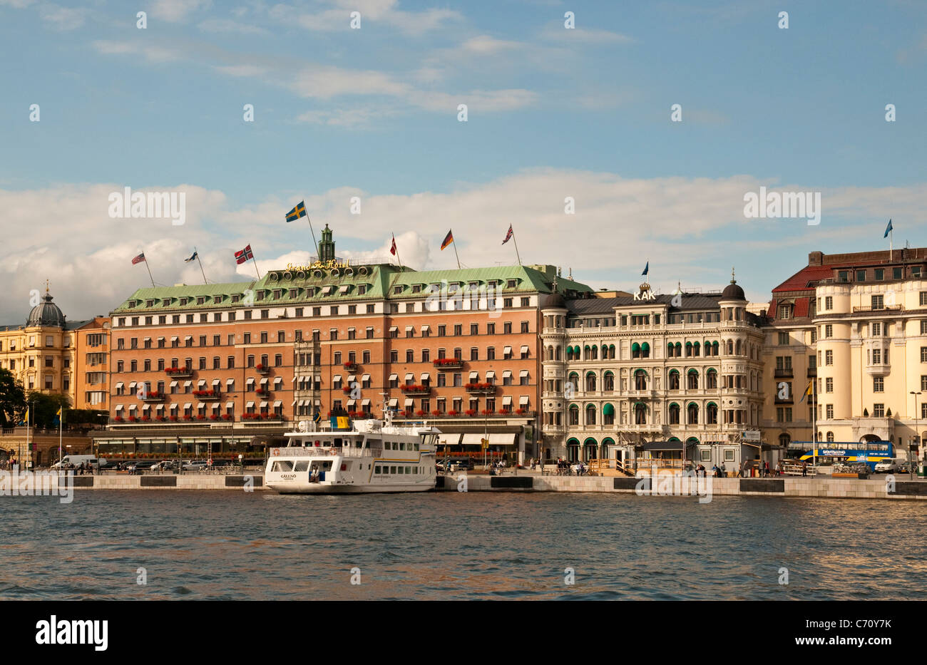 Grand Hotel on the waterfront in Stockholm, Sweden - Stock Image