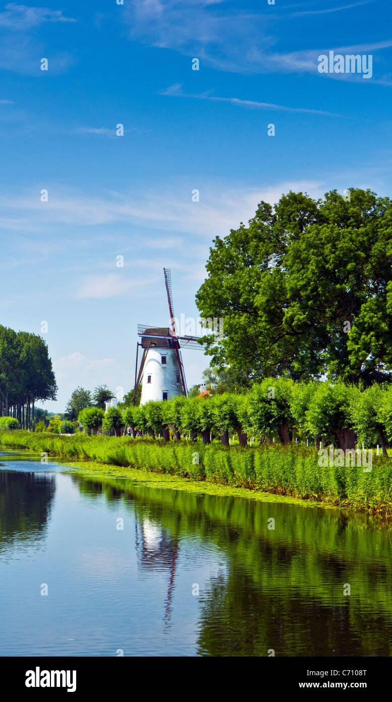 The windmill Schellemolen beside the Damse Vaart canal, Damme, Belgium - Stock Image