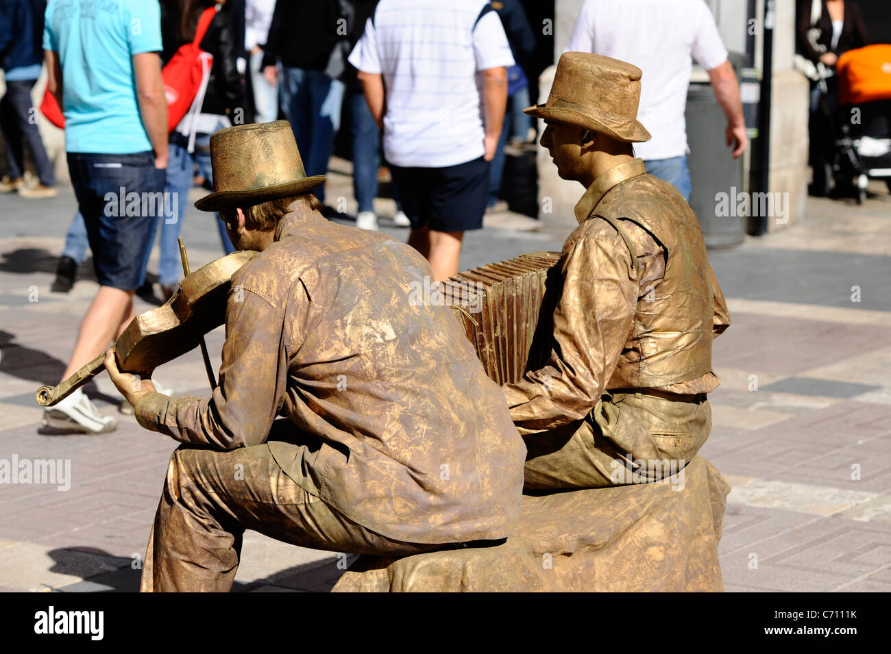 Street performers in Palma, Mallorca - Stock Image