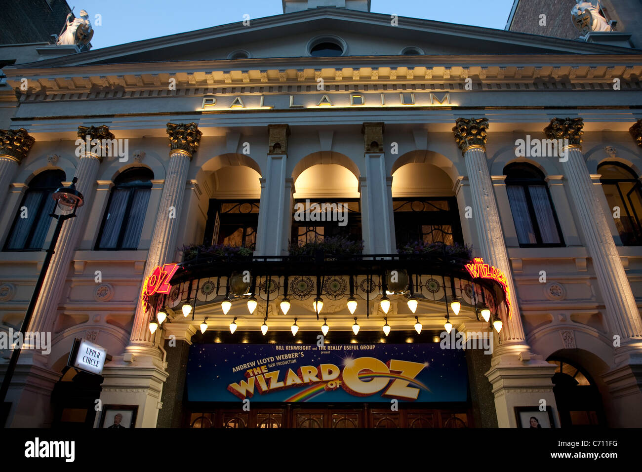 Wizard of Oz at the Palladium Theater in the West End illuminated at night, Argyll Street off Oxford Street, London, - Stock Image