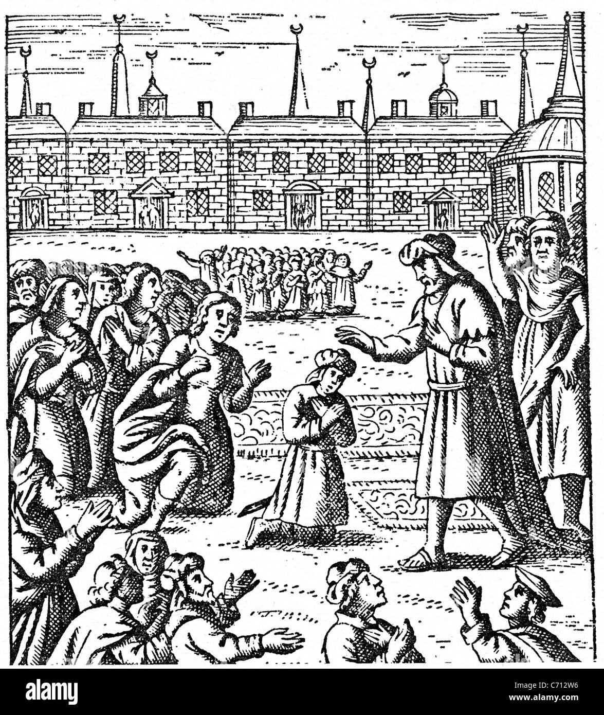 SABBATAI ZEVI (1626-1676) Sephardic Rabbi blesses some of his followers in  an English woodcut from 1685