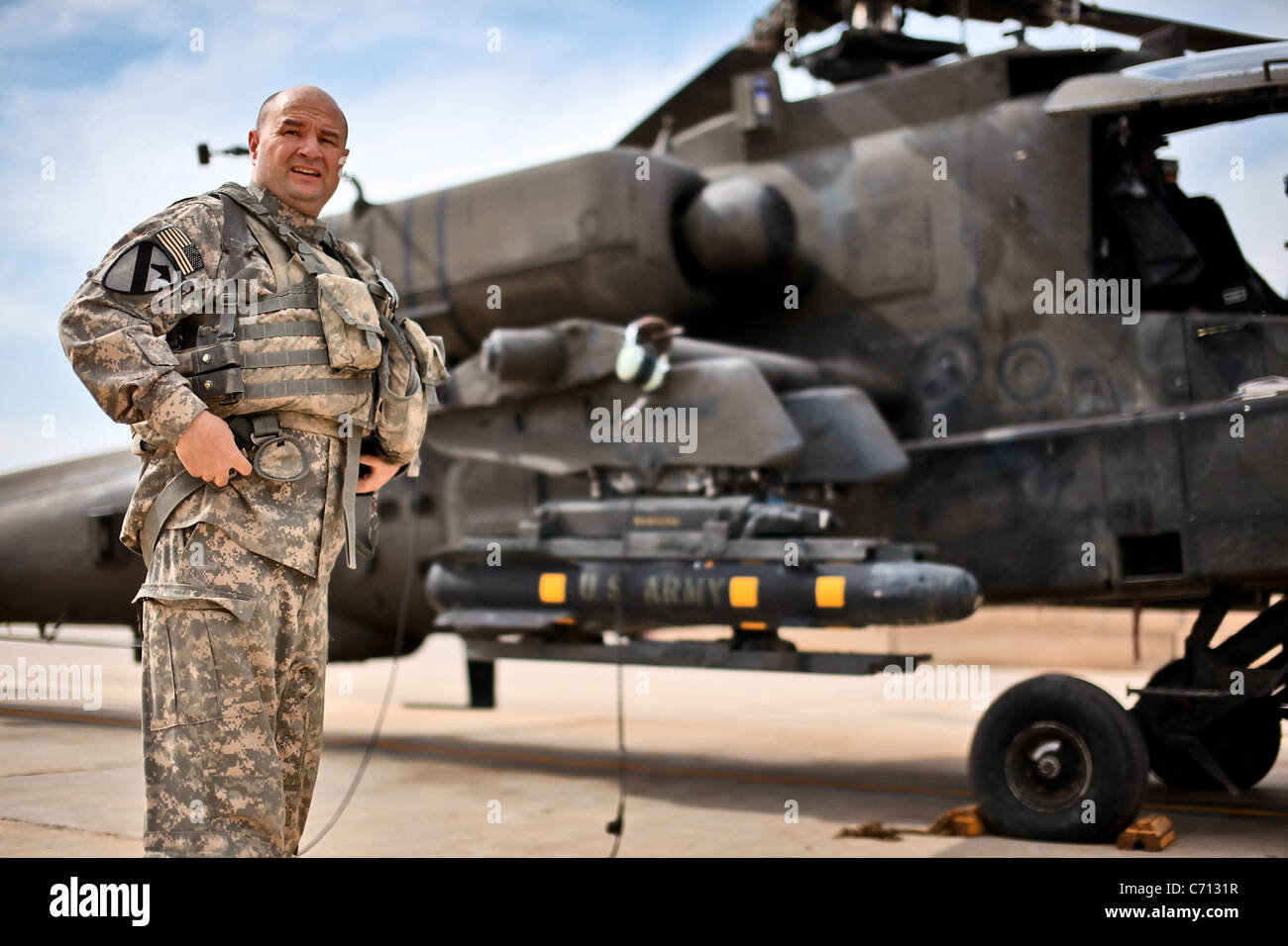 Having accrued 5,200 hours of flight time in his Army career, Chief Warrant Officer 5 Donald Washabaugh, from Collingswood, Stock Photo