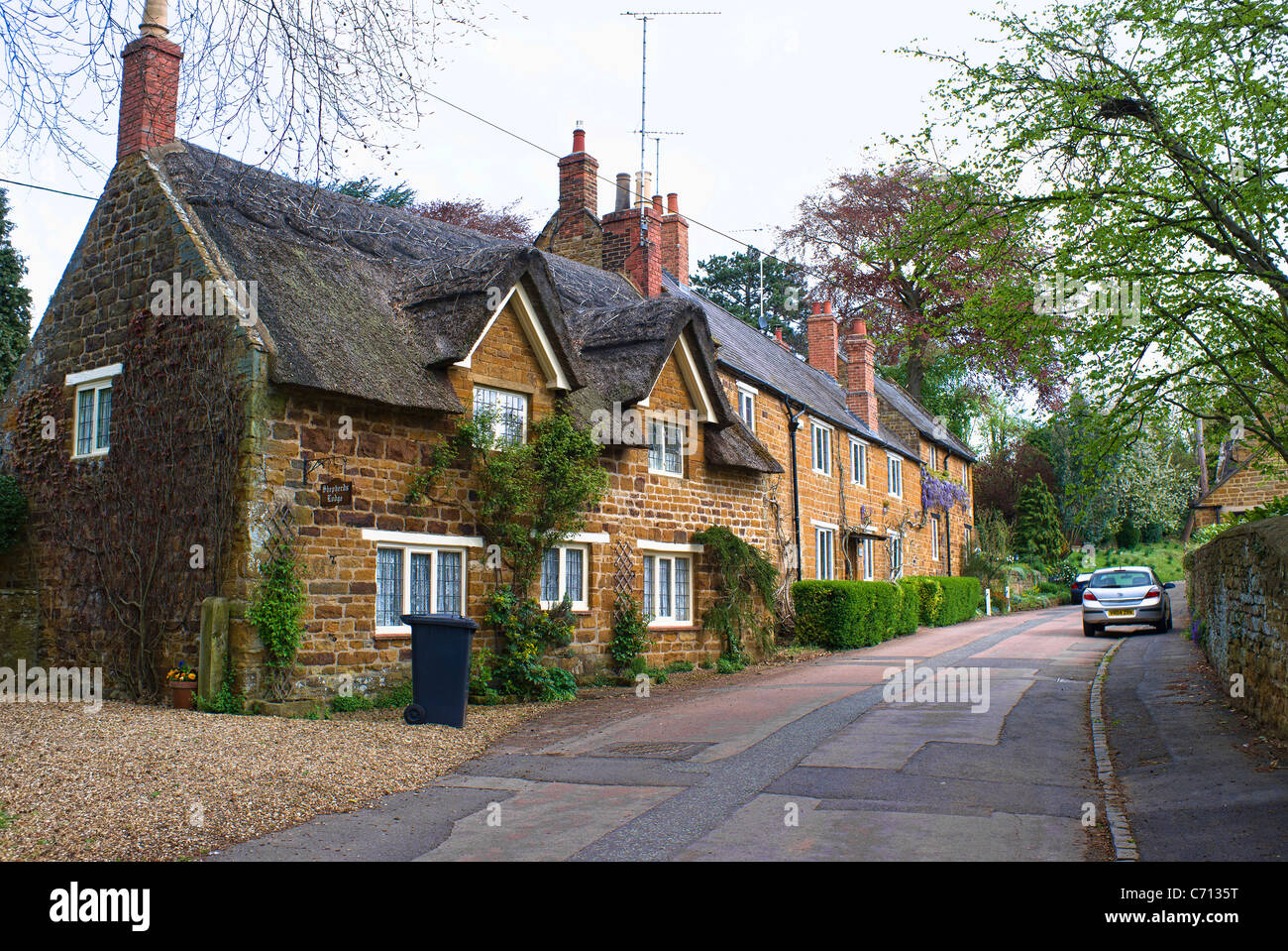 Old cottages in village of Church Brampton Northamptonshire UK - Stock Image