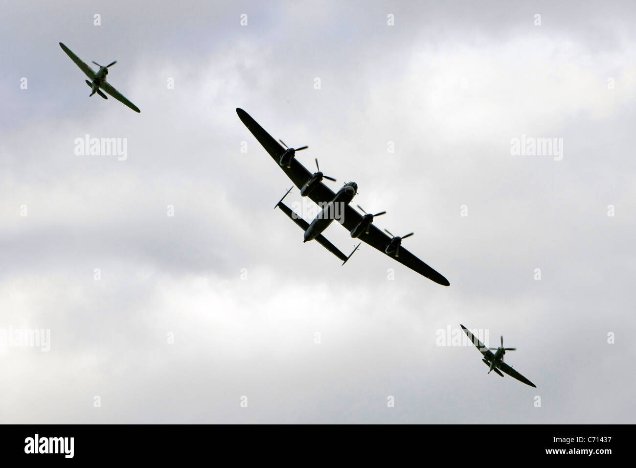 WW2 RAF Battle of Britain Memorial Flight including a Lancaster Spitfire and Hurricane - Stock Image