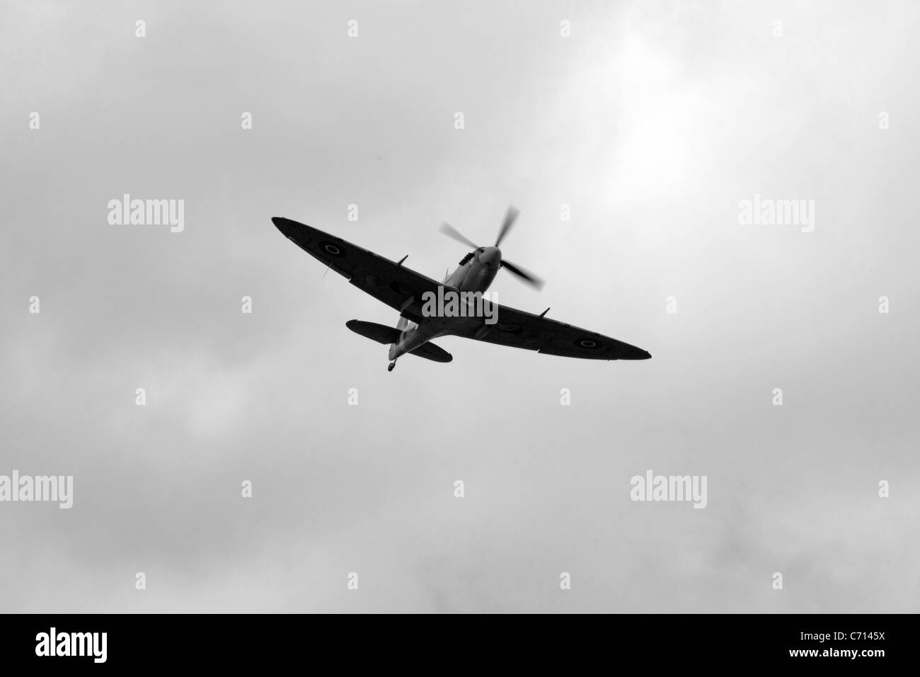 B/W photo of a WW2 British RAF Supermarine Spitfire Plane - Stock Image