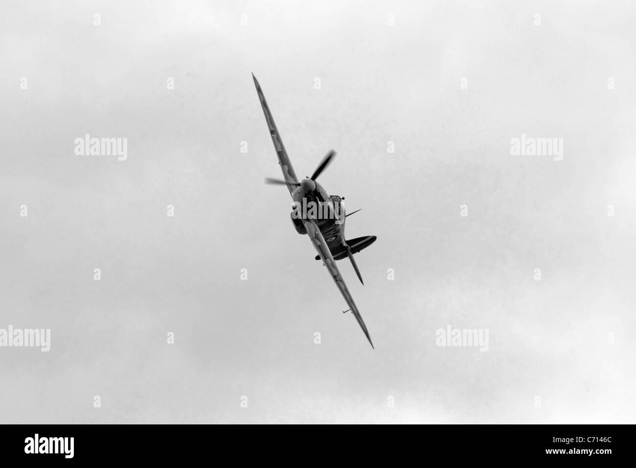 B/W photo of a WW2 British RAF Hawker Hurricane Plane Stock Photo