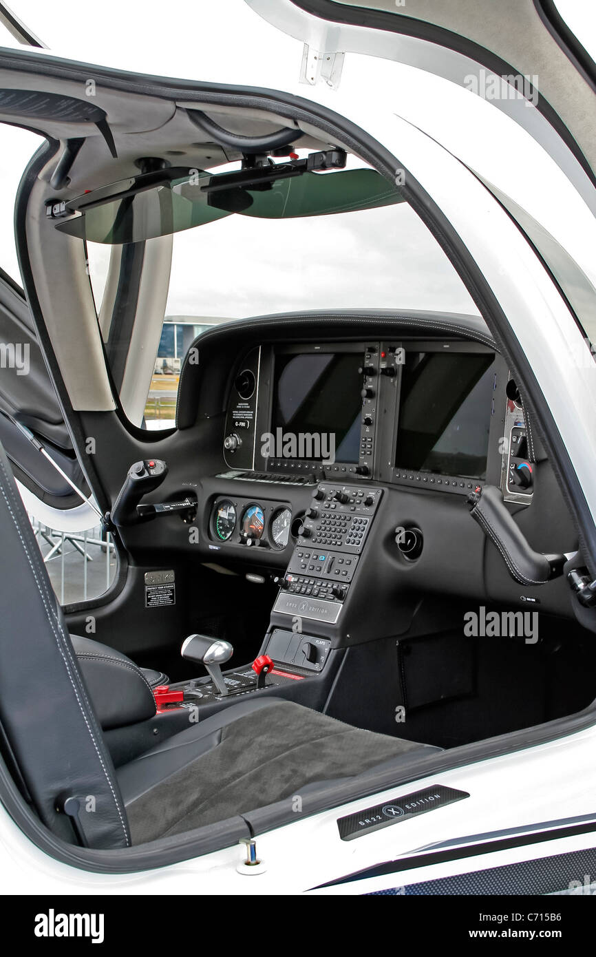 Display of the Cirrus SR22 Cockpit at the Farnborough International Airshow - Stock Image