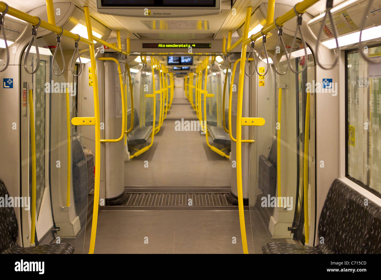 empty train tram carriage [NOP] vacant no people - Stock Image
