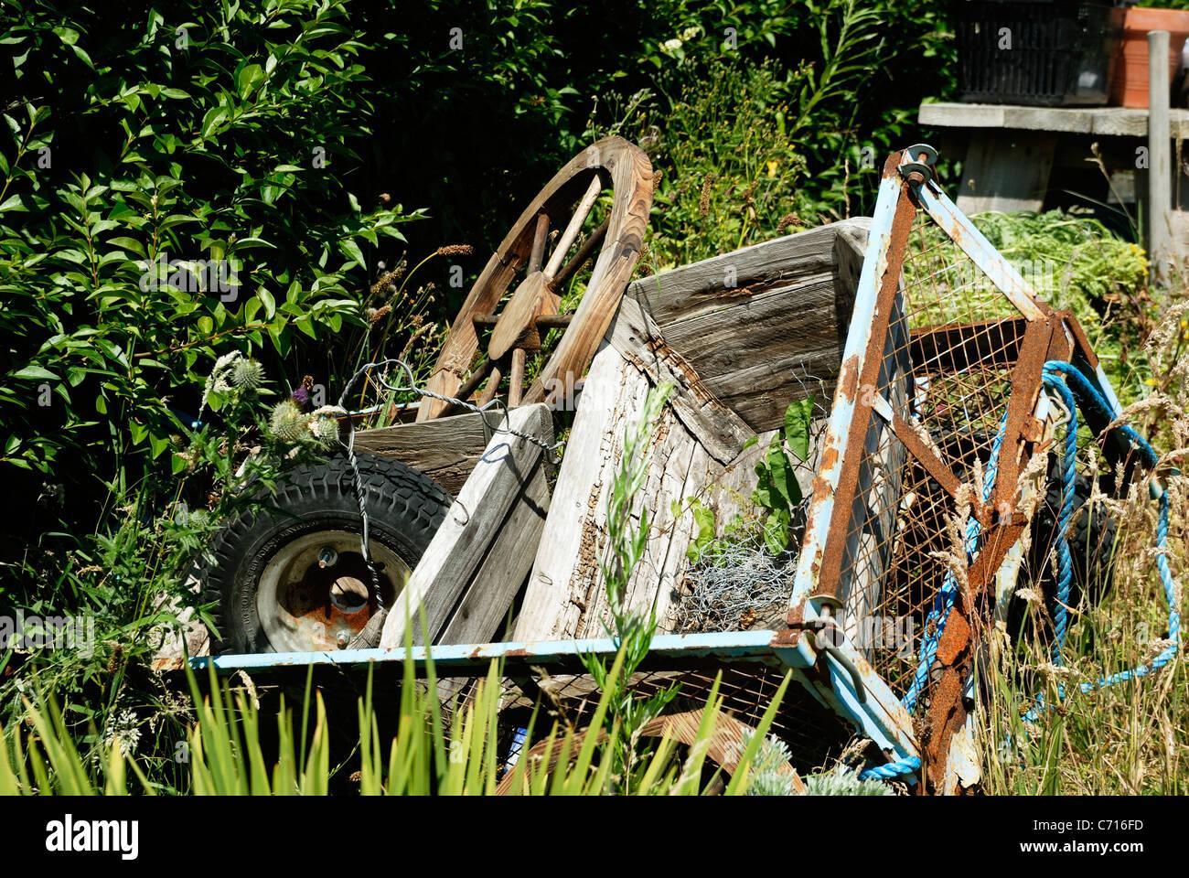 Junk in the garden - Stock Image