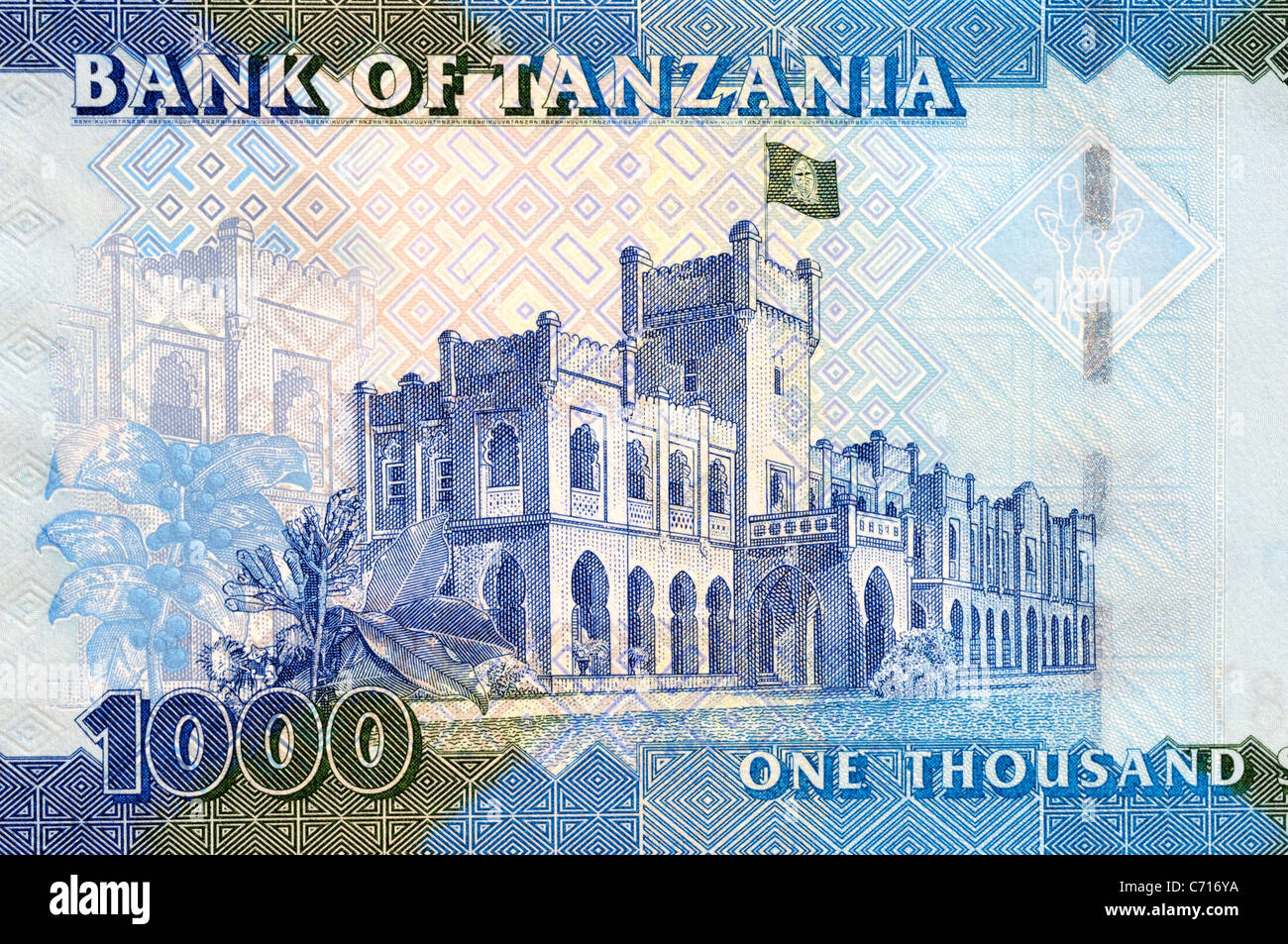 Tanzania 1000 One Thousand Shilling Bank Note. Stock Photo
