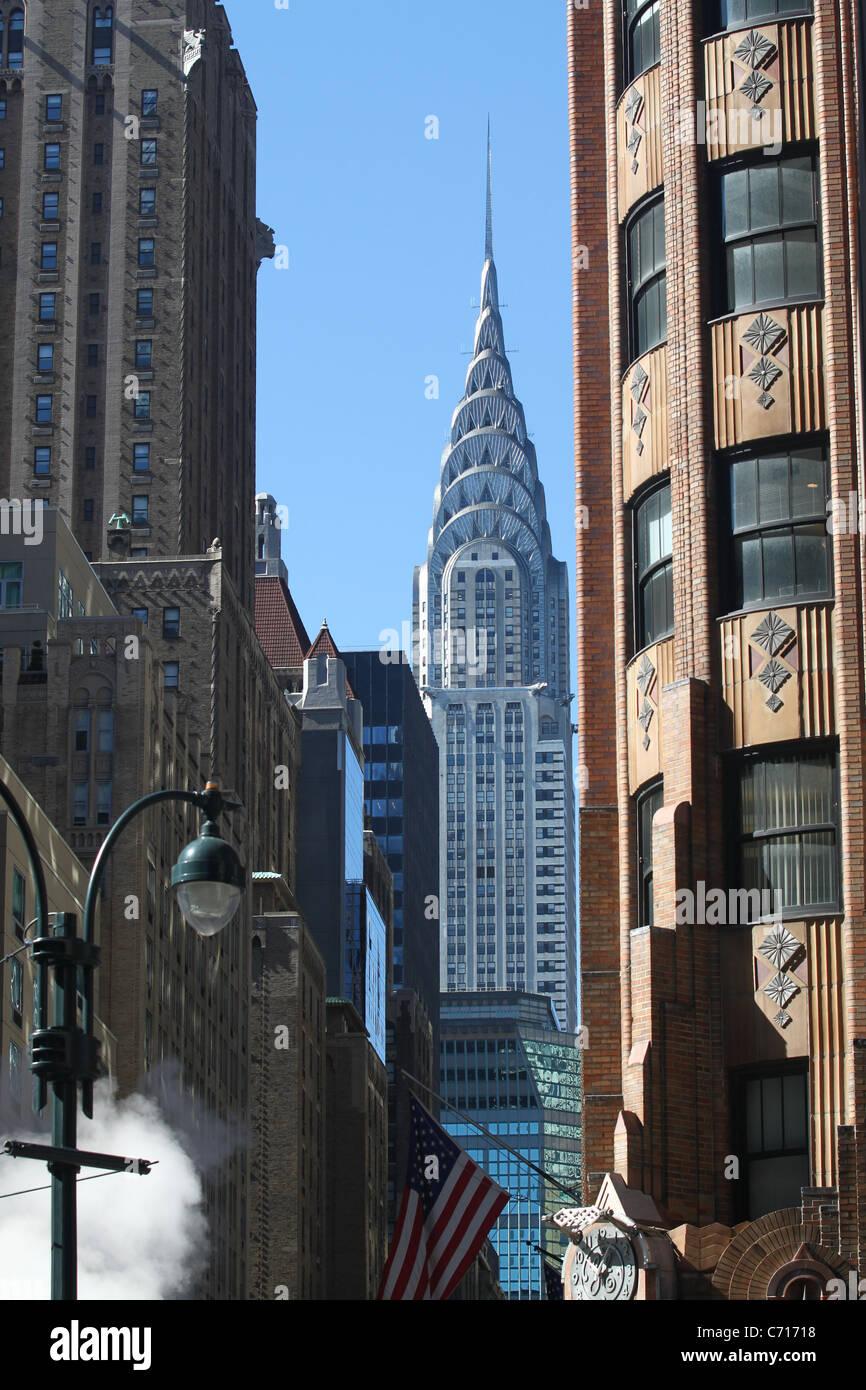 NYC scene, Chrysler Building in background Stock Photo