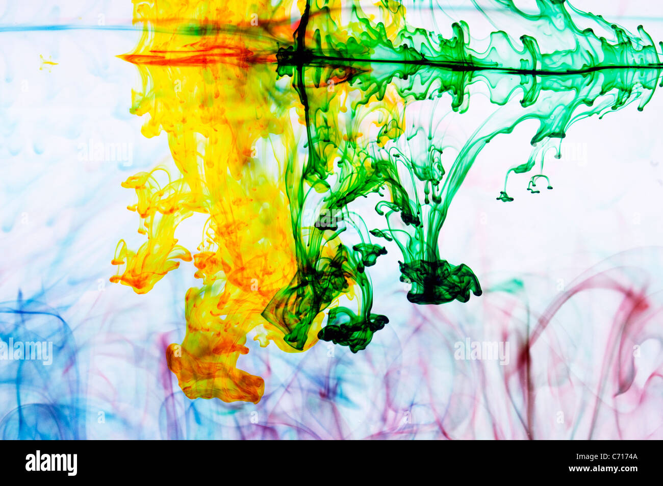 Food coloring makes abstract patterns in water, Lake Tahoe, California. - Stock Image