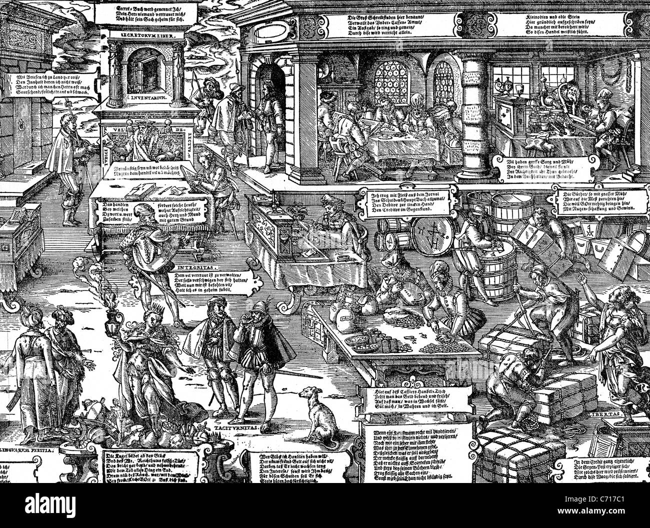 JOST AMMAN (1539-1591) Swiss woodcut artist here showing the many aspects of German finance and trade - Stock Image