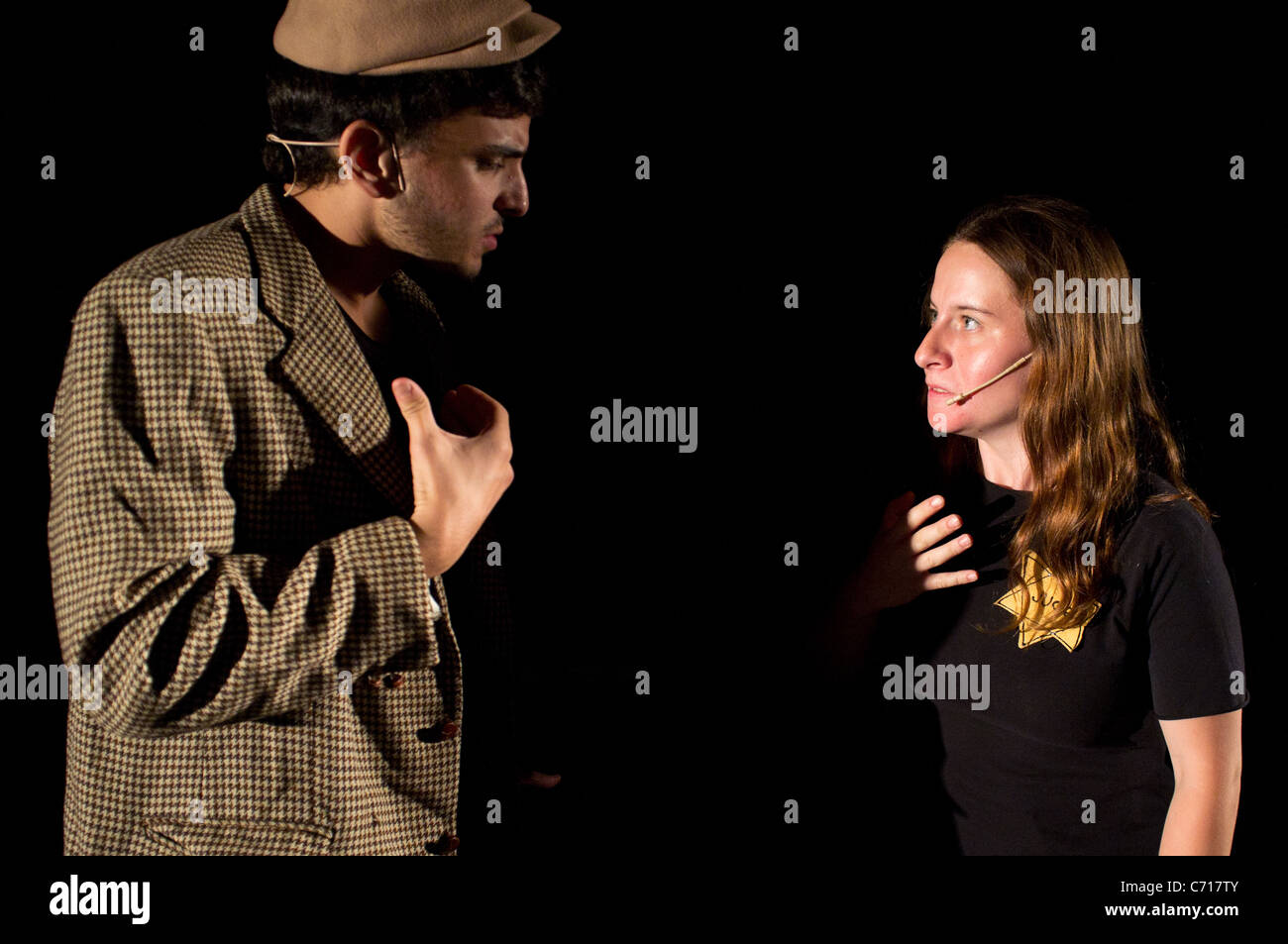 """Martef Basement Theater young actors perform """"The Strength to Tell"""" to honor Holocaust survivors. Jerusalem, Israel. Stock Photo"""