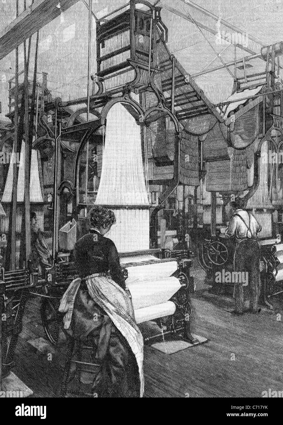 POWER LOOM WEAVING in England in the 1850s - Stock Image