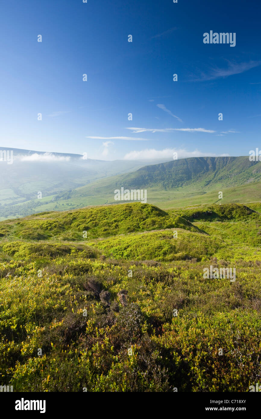 Craig Cerrig-gleisiad (right) from Fan Frynych. Craig Cerrig-gleisiad National Nature Reserve. Brecon Beacons. Wales. - Stock Image