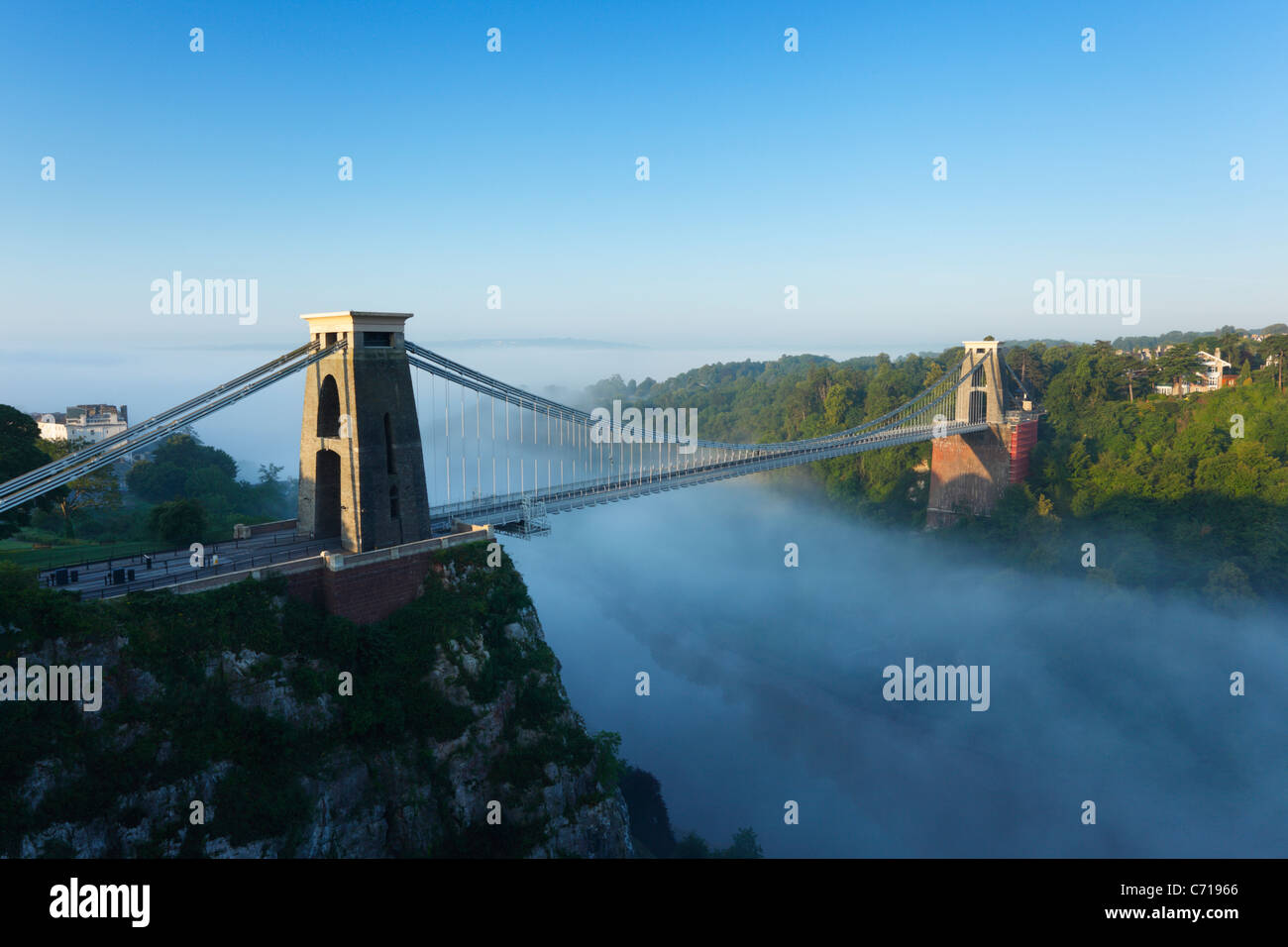 Morning mist in the Avon Gorge at Clifton Suspension Bridge. Bristol. England. UK. - Stock Image