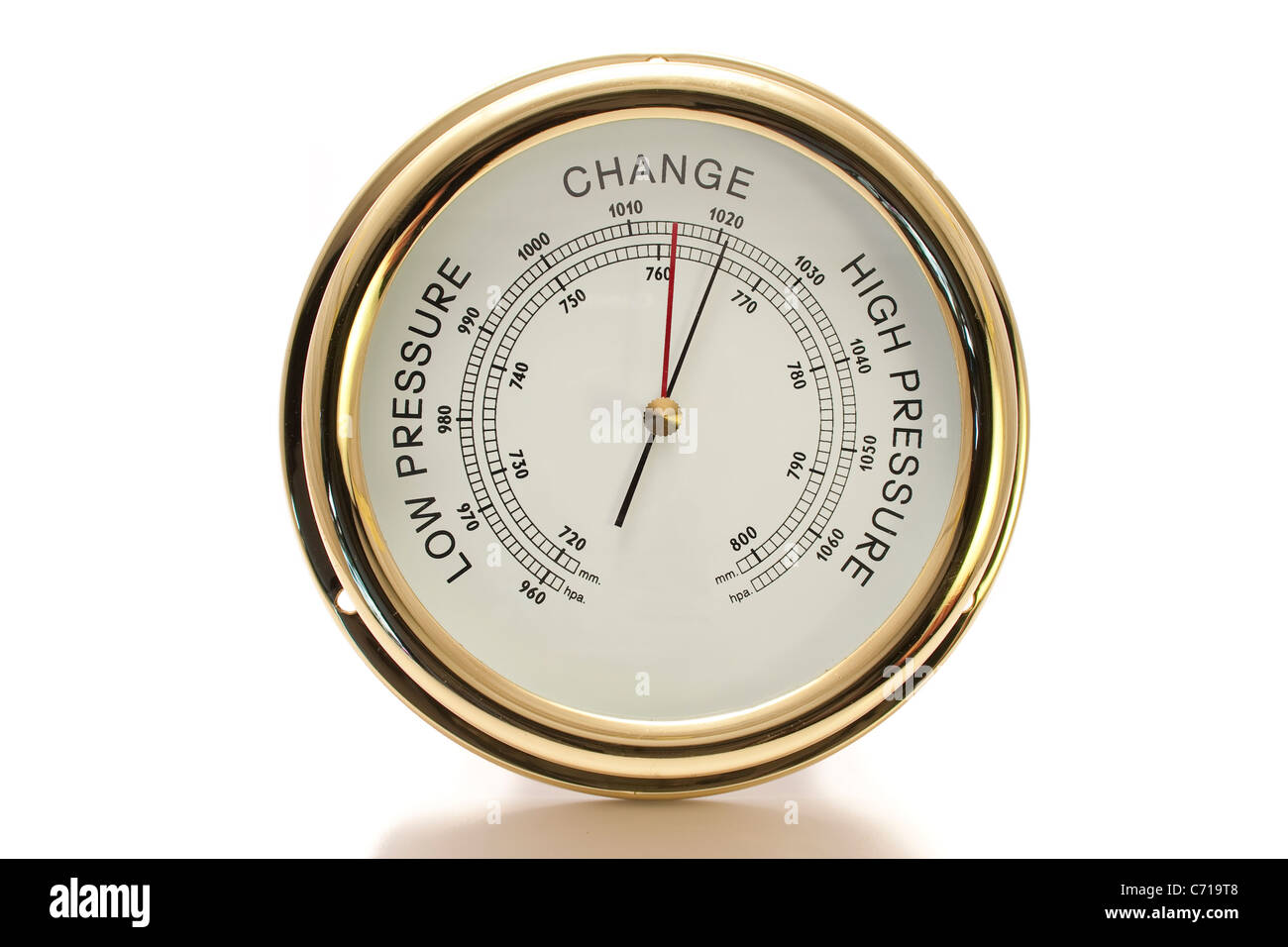 Barometer Brass with White Face Isolated - Stock Image