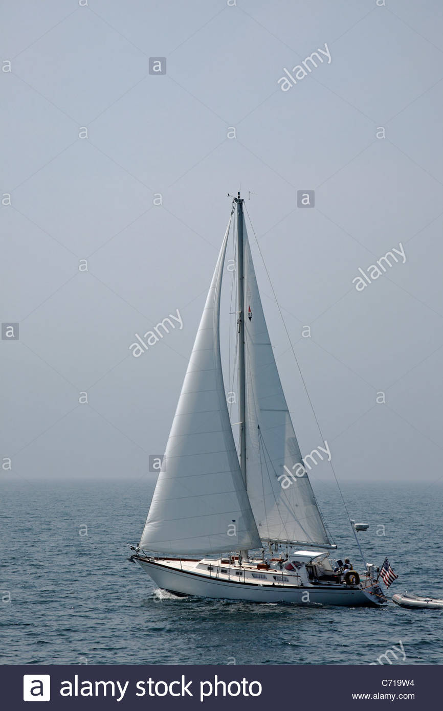 Sailboat in Boothbay Harbor, Lincoln County, Maine, USA - Stock Image