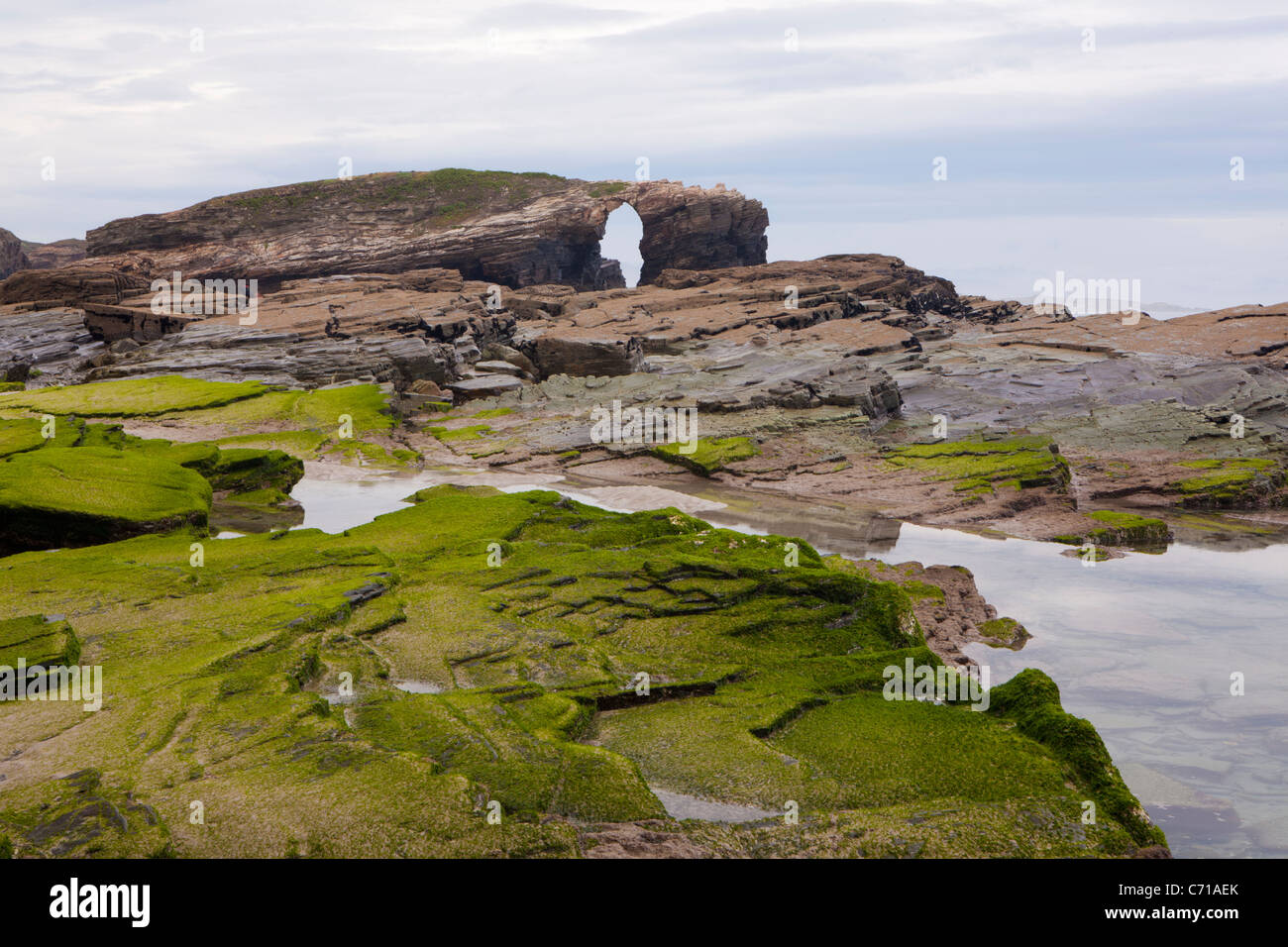 Beach of the cathedrals - Praia As Catedrais -, Ribadeo, Lugo, Galicia, Spain - Stock Image