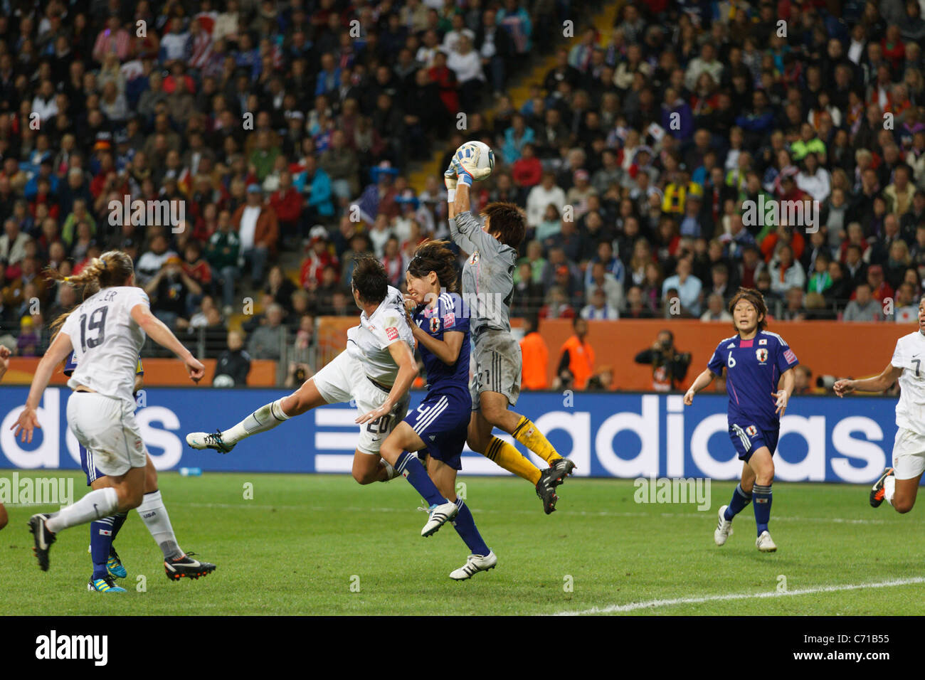 Japan goalkeeper Ayumi Kaihori jumps to make a save during the 2011 Women's World Cup final against the United - Stock Image