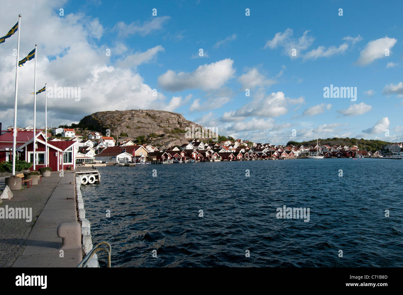 Waterfront at Hunnebostrand, south-west Sweden - Stock Image