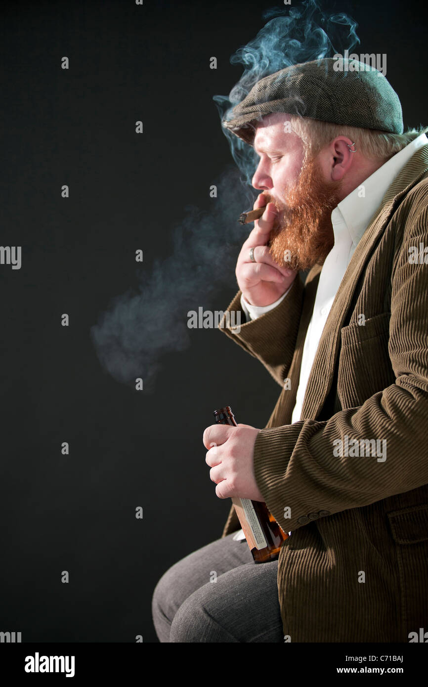 Portrait of a man as a rough-around-the-edges character. - Stock Image
