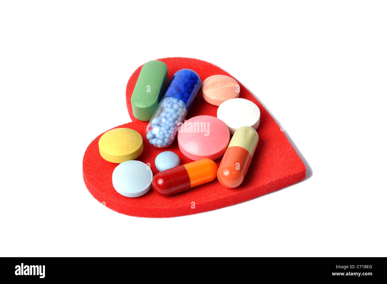 Heart and Pills - Stock Image