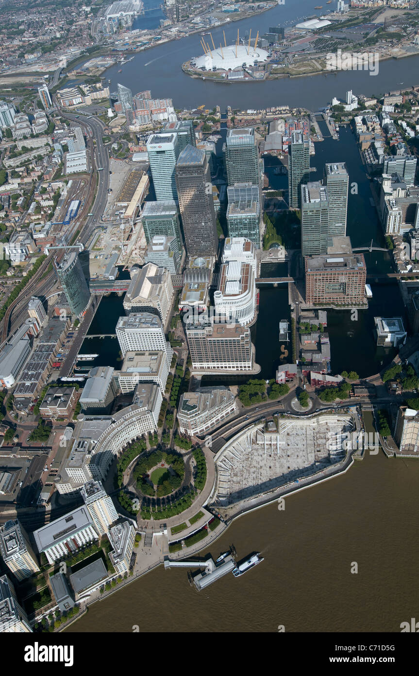 Aerial view of London Docklands - Stock Image