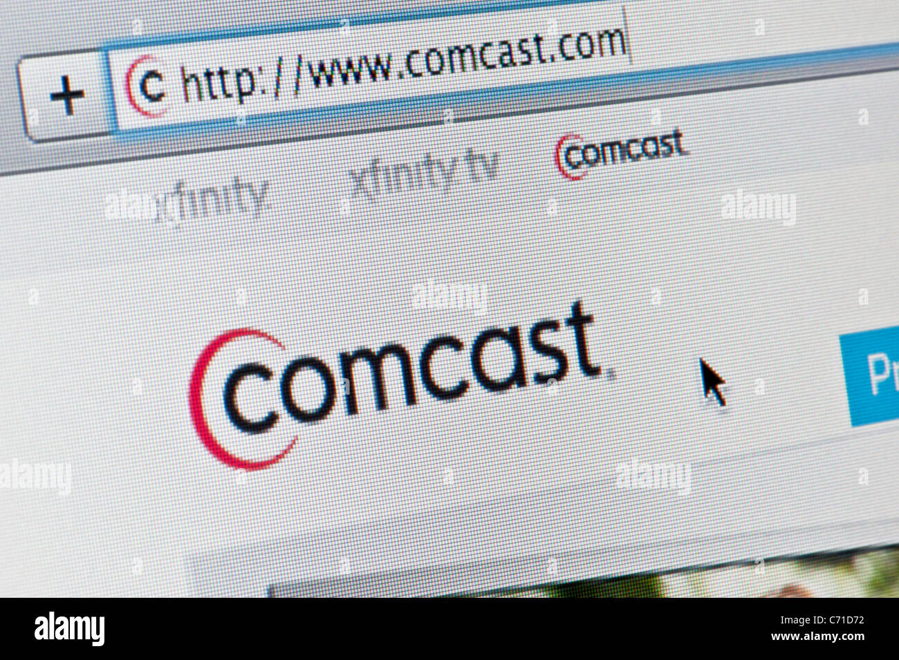 Close up of the Comcast logo as seen on its website  (Editorial use