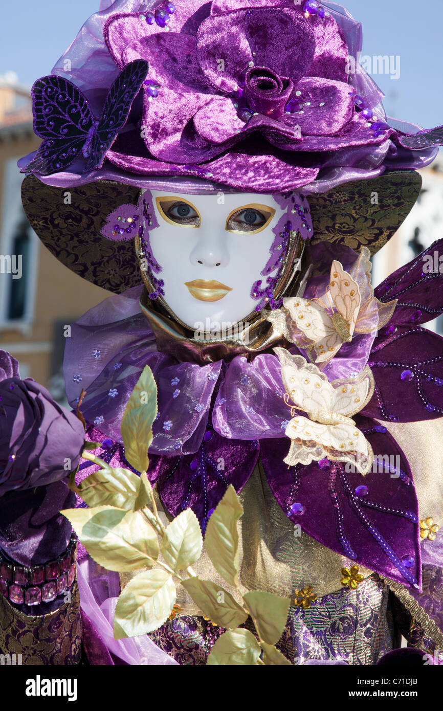 Person in costume during Carnivale 2011 in Venice Italy - Stock Image