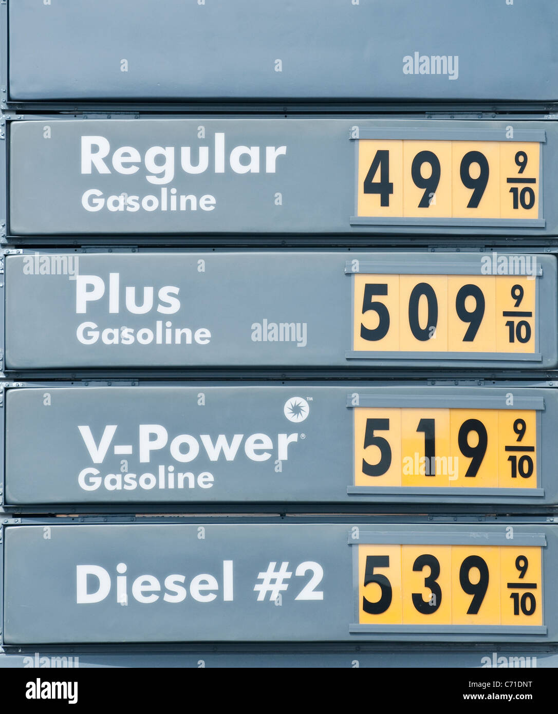 The price of gas is the highest in America's small towns like Bridgeport, California. - Stock Image