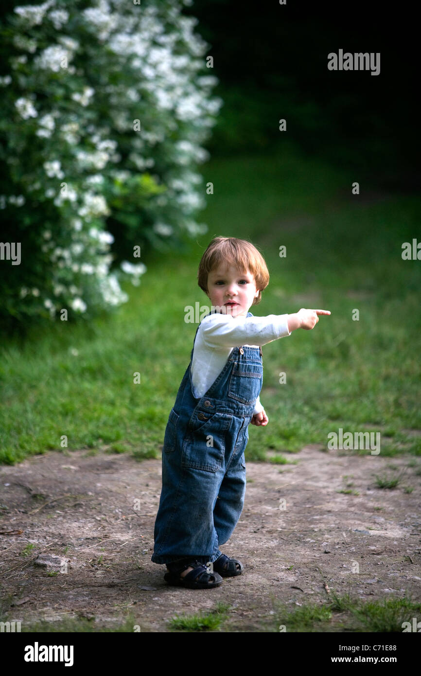 Two-year-old boy points - Stock Image