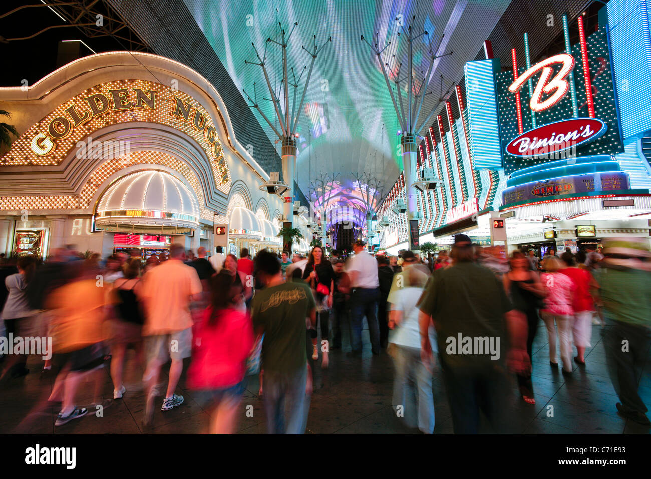 United States of America, Nevada, Las Vegas, The Fremont Street Experience in Downtown Las Vegas - Stock Image