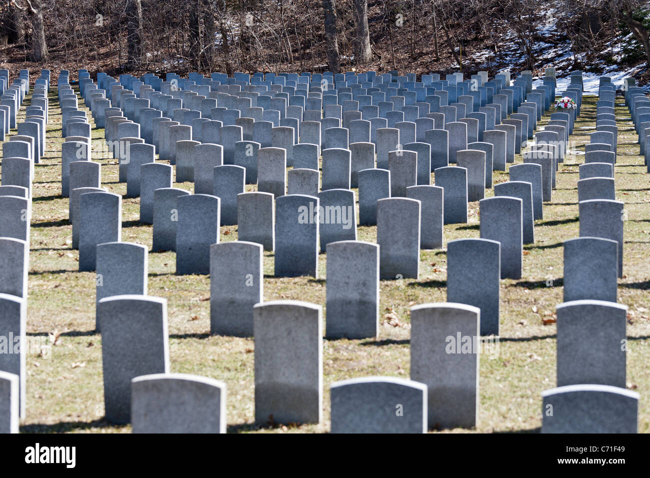 Rough Triangles of Canadian Military headstones. In Bayview Cemetery's military section grey granite headstones Stock Photo