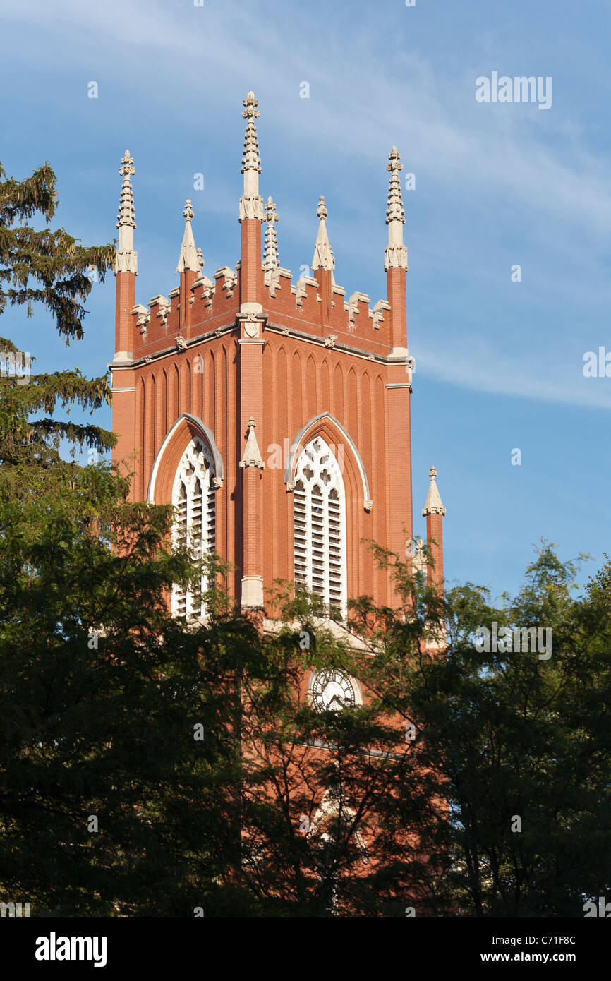 St. Paul's Anglican Church Tower. 1845 clock and bell tower of St Paul's Anglican Cathedral. - Stock Image