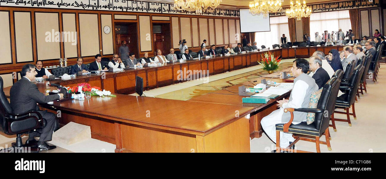 Prime Minister, Syed Yousuf Raza Gilani Chairs The Federal Cabinet Meeting    Stock Image