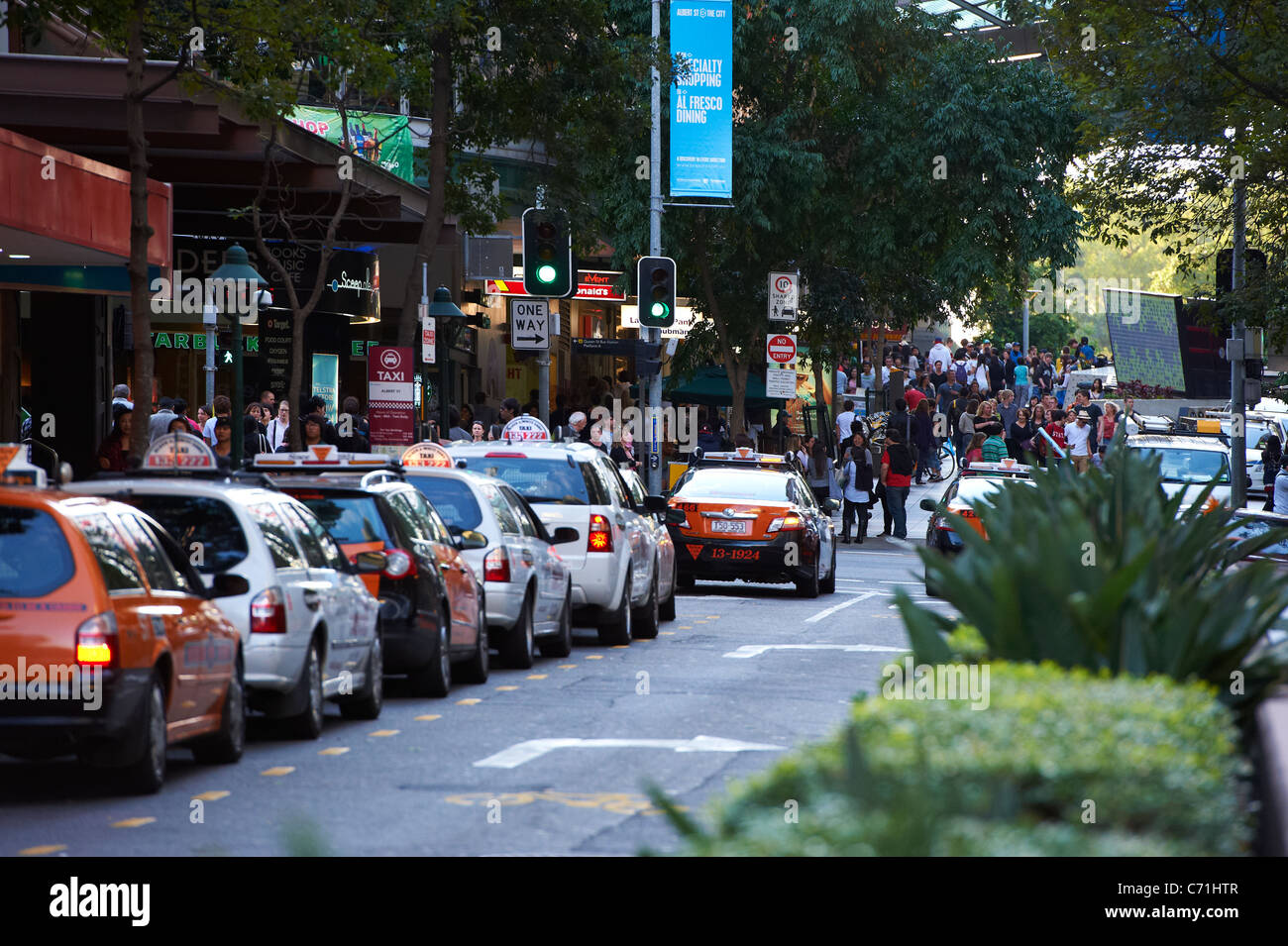 Taxi rank in Albert Street, Brisbane Australia - Stock Image