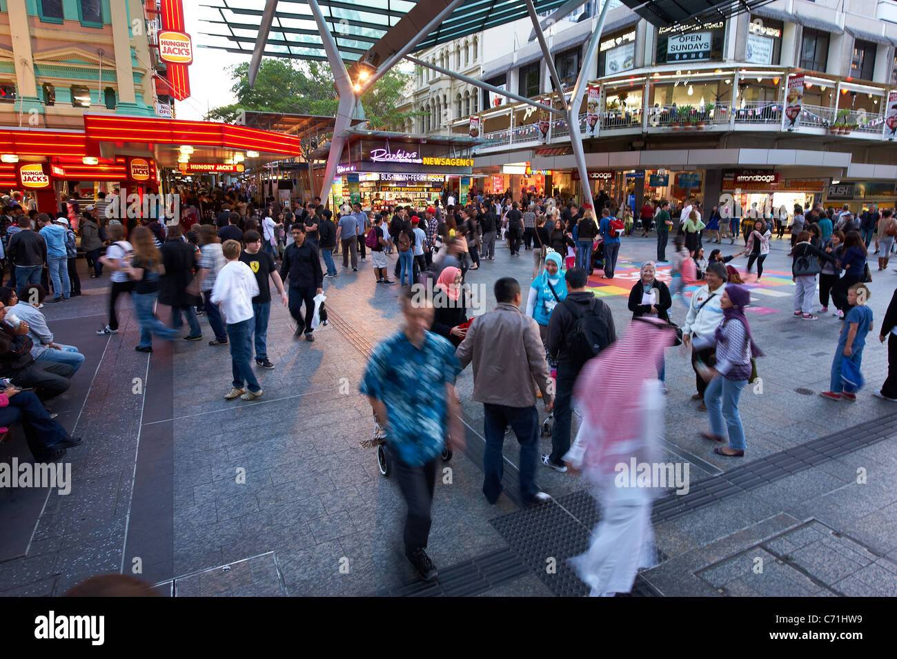 Queen Street Mall, Brisbane Australia - Stock Image