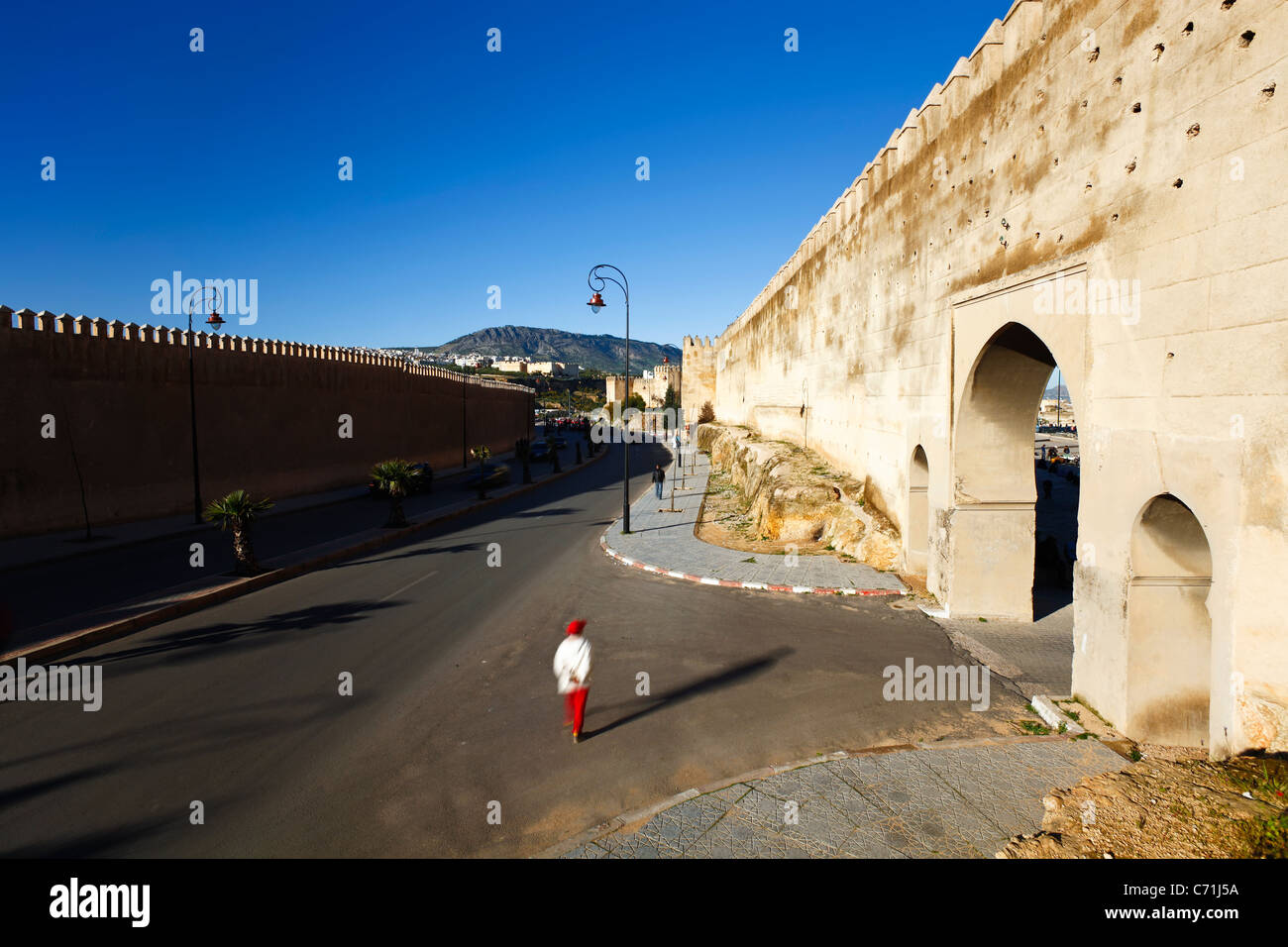 Medieval ramparts of the Old City, Fes el bali, Fes, Morocco, North Africa - Stock Image