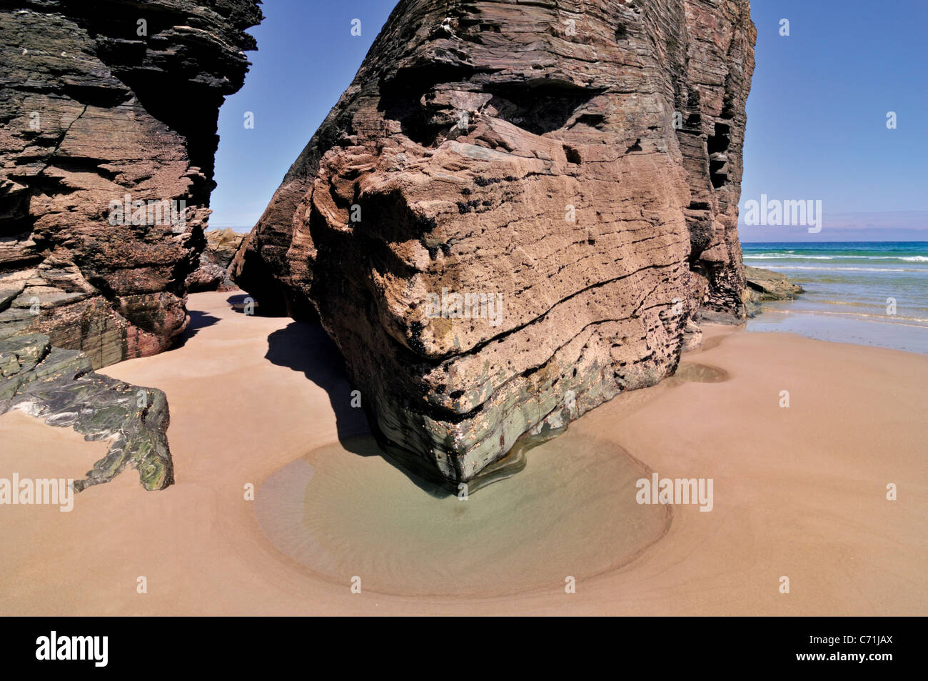 Spain, Galicia: Rocks at beach Praia As Catedrais - Stock Image