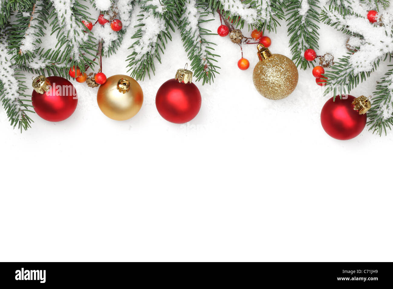 Christmas ornaments in the snowflakes. - Stock Image