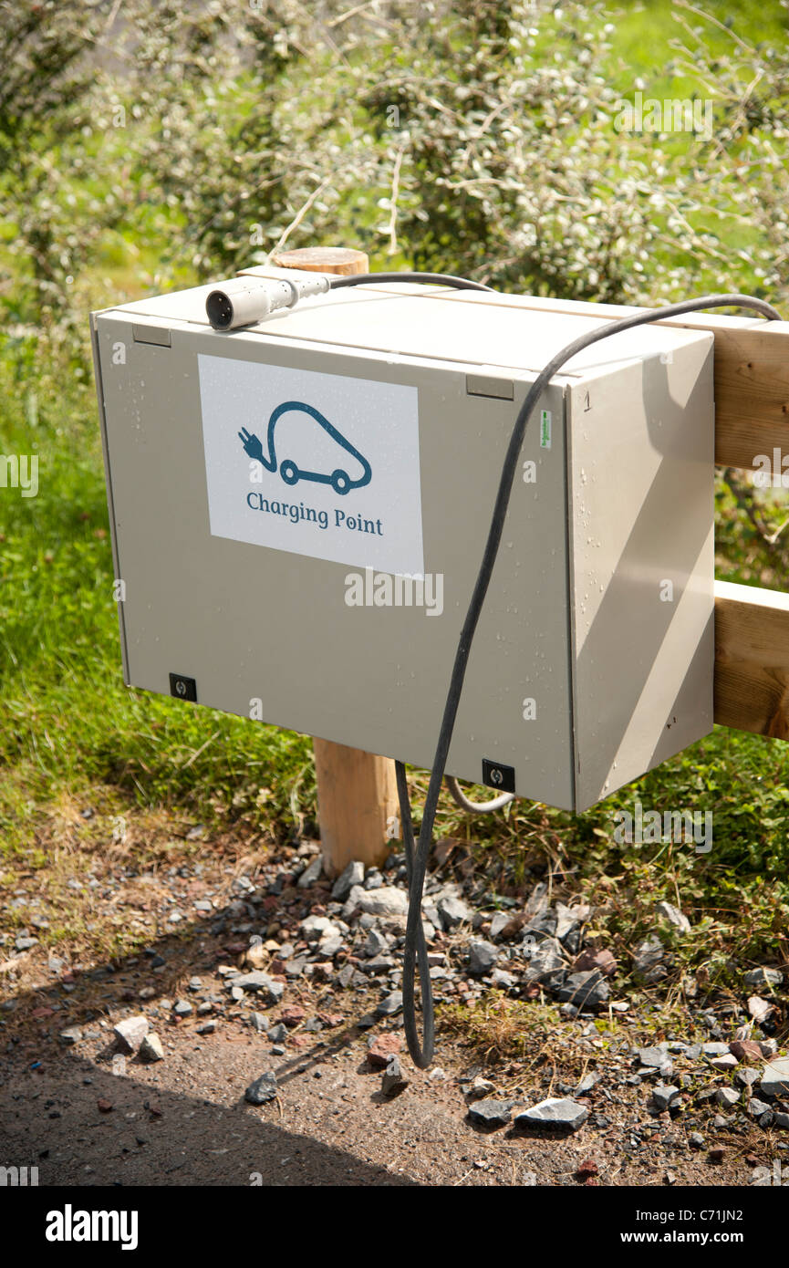Electric vehicle charging station at Bluestone National Park resort holiday vacation centre, pembrokeshire west - Stock Image